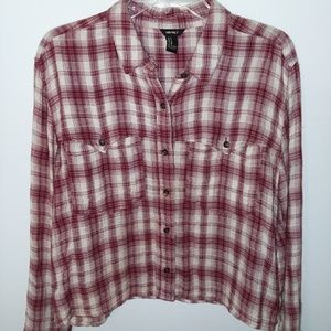 Cropped Flannel Button-up Shirt